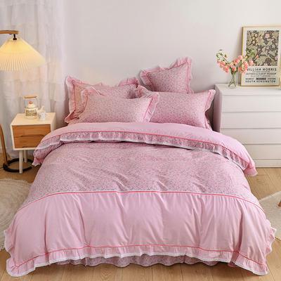 韩式纯棉田园碎花小蕾丝款花边四件套系列 1.5m(5英尺)床 时光花语-粉