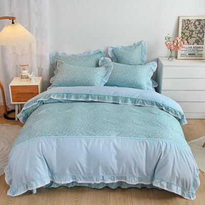 韩式纯棉田园碎花小蕾丝款花边四件套系列 1.5m(5英尺)床 时光花语-蓝