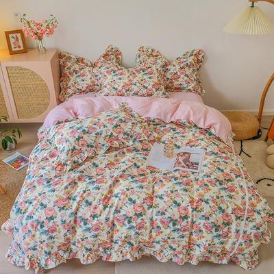 2021新款纯棉韩式复古抽象套件系列 1.5m床单款四件套 花开时节