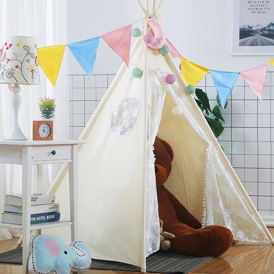 2018儿童游戏屋分床神器游戏帐篷婴童玩具印第安尖顶系列 120cm*120cm*160cm 蕾丝小猪佩奇