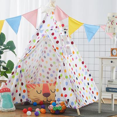 2018儿童游戏屋分床神器游戏帐篷婴童玩具印第安尖顶系列 120cm*120cm*160cm 七彩圆点