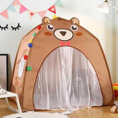 卡通动物儿童帐篷儿童玩具屋分床神器小房子室内游戏乐园 130cm*100cm*130cm 棕熊(含垫子)