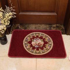2018新款欧式雪尼尔地垫厨房垫地毯 40*60cm 圆形花-红色