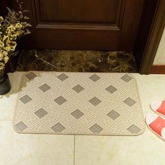 2018新款欧式雪尼尔地垫厨房垫地毯 40*60cm 四方格长垫-米色