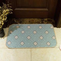 2018新款欧式雪尼尔地垫厨房垫地毯 40*60cm 四方格长垫-蓝色