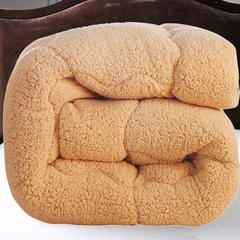 乐淘家居  经典纯色加厚羊羔绒春秋冬被子 150x200cm/5斤 驼色