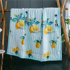 2019新款水洗棉夏被空调被 枕套一对 柠檬-绿