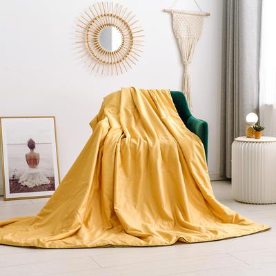 2020新款水洗臻絲繡花款夏涼被6色 150x200cm 芒果黃