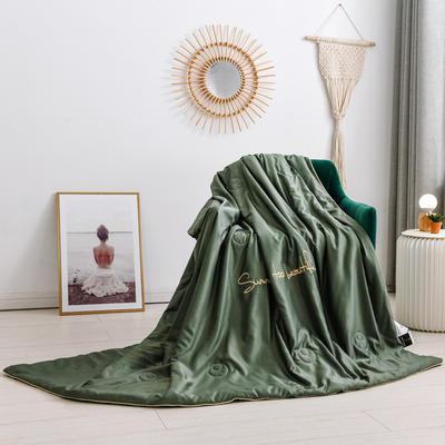 2020新款水洗臻絲繡花款夏涼被6色 150x200cm 墨綠