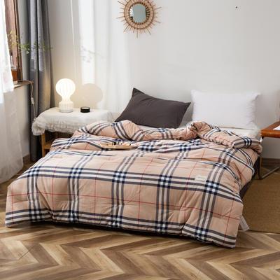2020新款全棉色织水洗棉冬被 被子被芯微商无印良品风格格子 150x200cm(5斤) 巴宝格