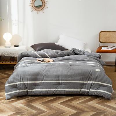 2020新款全棉色织水洗棉冬被 被子被芯微商无印良品风格格子 150x200cm(5斤) 灰条纹
