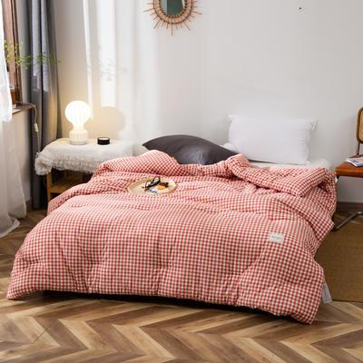 2020新款全棉色织水洗棉冬被 被子被芯微商无印良品风格格子 150x200cm(5斤) 小格红