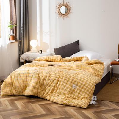 2020新款全棉色织水洗棉冬被 被子被芯微商无印良品风格格子 150x200cm(5斤) 小格黄