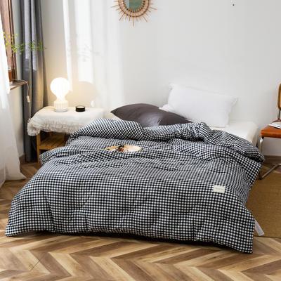2020新款全棉色织水洗棉冬被 被子被芯微商无印良品风格格子 150x200cm(5斤) 小格灰