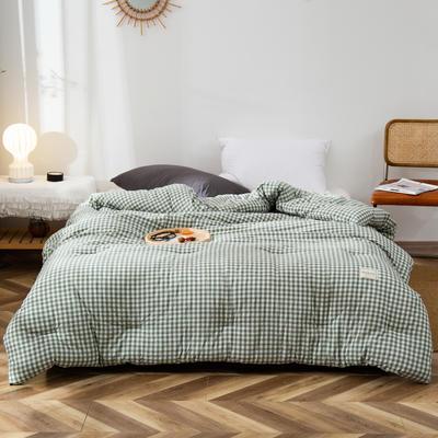 2020新款全棉色织水洗棉冬被 被子被芯微商无印良品风格格子 150x200cm(5斤) 小格绿