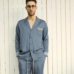 2018新款MEJU HOME系列灰空间素色拼接男士长袖套装家居服 S-M码(140斤以内) 深蓝