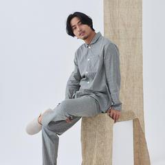 2018新款本原情侣组系列不二男士长袖长裤套装家居服 M码(135斤以内) 灰色