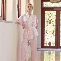 2018新款女款真丝套装绣花家居服 M码(100斤以内) 粉红色