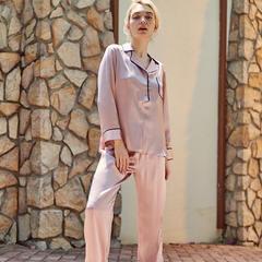 2018新款女款真丝套装家居服(2) M码(100斤以内) 粉色