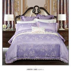 竹棉提花系列被芯面料 宽幅250cm K803-1-水墨丹青-浅紫