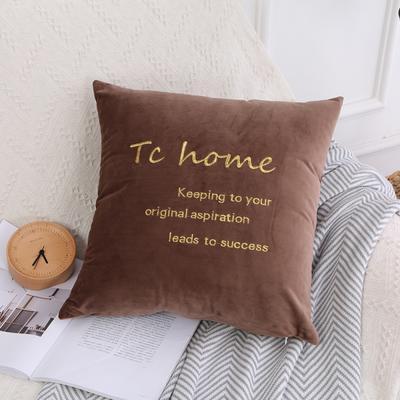 可温家居 2018年新款 纯色意大利绒刺绣抱枕 沙发装饰枕 45X45cm(光枕套) 咖啡色