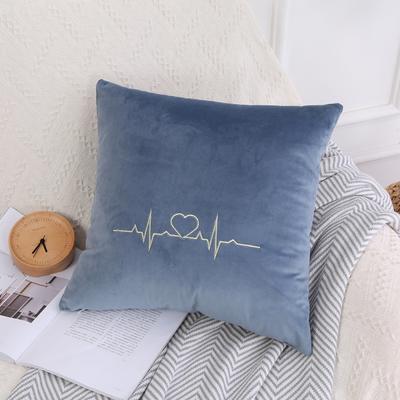 可温家居 2018年新款 纯色意大利绒刺绣抱枕 沙发装饰枕 45X45cm(光枕套) 梦幻蓝