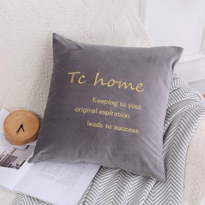 可温家居 2018年新款 纯色意大利绒刺绣抱枕 沙发装饰枕 45X45cm(光枕套) 十八度灰