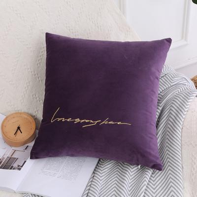 可温家居 2018年新款 纯色意大利绒刺绣抱枕 沙发装饰枕 45X45cm(光枕套) 紫罗兰