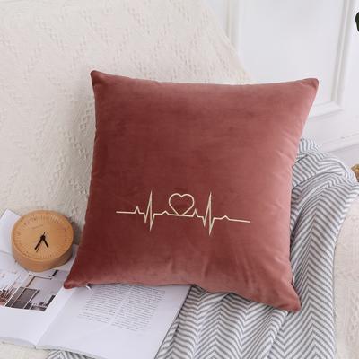 可温家居 2018年新款 纯色意大利绒刺绣抱枕 沙发装饰枕 45X45cm(光枕套) 豆沙红