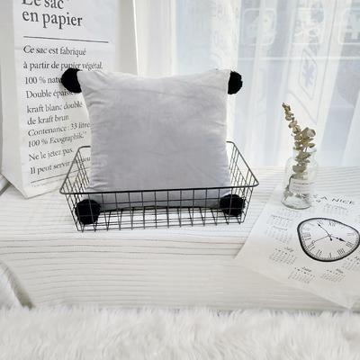可温家居 2018年新款纯色爆款意大利绒抱枕 INS北欧风靠枕 手工球沙发装饰枕 30X50cm腰靠枕 十八度灰