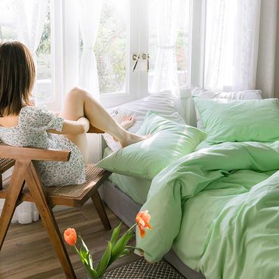 可温家居 2019年新款biubiu系列 纯色小清新水洗棉刺绣床上四件套 1.8m(6英尺)床 biubiu-绿