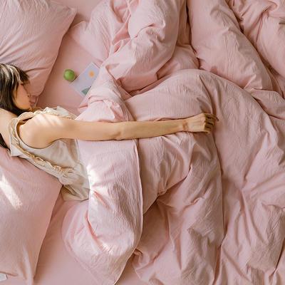 可温家居 2019年新款biubiu系列 纯色小清新水洗棉刺绣床上四件套 1.8m(6英尺)床 biubiu-粉