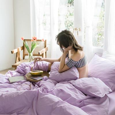 可温家居 2019年新款biubiu系列 纯色小清新水洗棉刺绣床上四件套 1.8m(6英尺)床 biubiu-紫