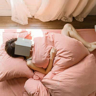 可温家居 2019年新款biubiu系列 纯色小清新水洗棉刺绣床上四件套 1.8m(6英尺)床 biubiu-砖红