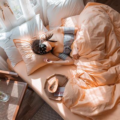 可温家居 2019年新款biubiu系列 纯色小清新水洗棉刺绣床上四件套 1.8m(6英尺)床 biubiu-橘
