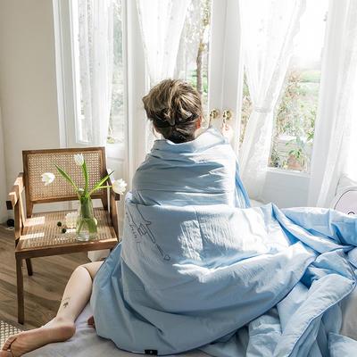 可温家居 2019新款-biubiu系列夏被 色织水洗棉夏被 抖音网红款 150x200cm biubiu-蓝