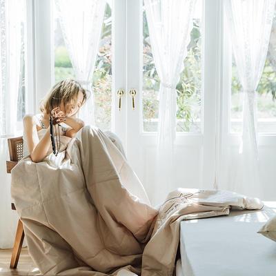 可温家居 2019新款-biubiu系列夏被 色织水洗棉夏被 抖音网红款 150x200cm biubiu-米