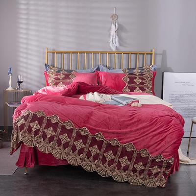 可温家居 2019新款Lace系列高克重宝宝绒四件套 欧式高档蕾丝花边四件套 1.8m(6英尺)床 Lace-淡茜红