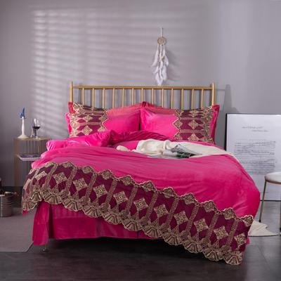 可温家居 2019新款Lace系列高克重宝宝绒四件套 欧式高档蕾丝花边四件套 1.8m(6英尺)床 Lace-紫荆红