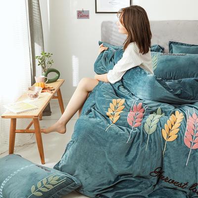 可温家居 2019新品网红爱之穗系列四件套 纯色宝宝绒毛巾绣套件 1.8m(6英尺)床 爱之穗-宝兰