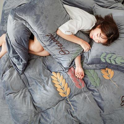 可温家居 2019新品网红爱之穗系列四件套 纯色宝宝绒毛巾绣套件 1.8m(6英尺)床 爱之穗-简灰