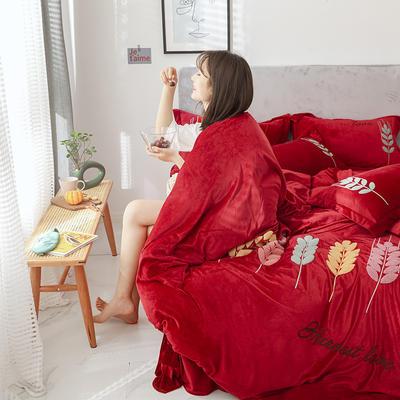 可温家居 2019新品网红爱之穗系列四件套 纯色宝宝绒毛巾绣套件 1.8m(6英尺)床 爱之穗-酒红色