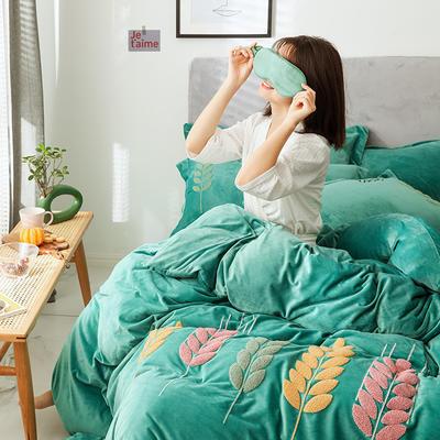 可温家居 2019新品网红爱之穗系列四件套 纯色宝宝绒毛巾绣套件 1.8m(6英尺)床 爱之穗-墨绿