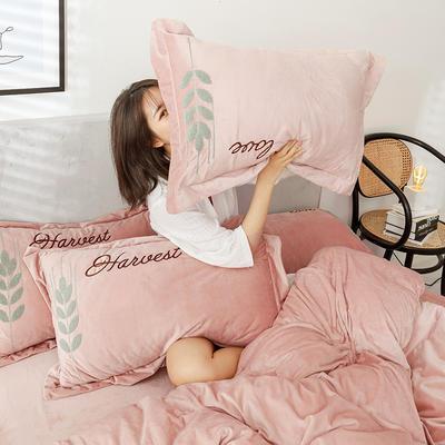 可温家居 2019新品网红爱之穗系列四件套 纯色宝宝绒毛巾绣套件 1.8m(6英尺)床 爱之穗-浅咖
