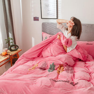 可温家居 2019新品网红爱之穗系列四件套 纯色宝宝绒毛巾绣套件 1.8m(6英尺)床 爱之穗-少女粉