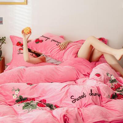 可温家居 2019秋冬新款 草莓蜜恋系列小清新毛巾绣四件套冬季保暖宝宝绒套件 1.8m(6英尺)床 草莓蜜恋 少女粉
