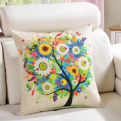 棉麻抱枕-植物系列 45x45cm D8