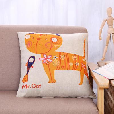 棉麻抱枕-小猫系列 45x45cm H1