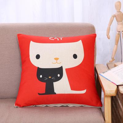 棉麻抱枕-小猫系列 45x45cm H2