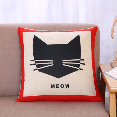 棉麻抱枕-小猫系列 45x45cm H3